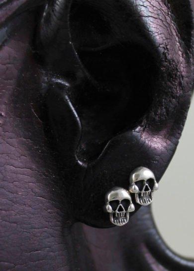 Sterling Silver Skull Post Earring Set