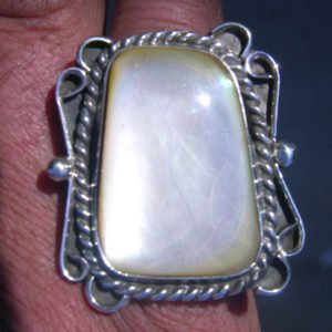 Handmade Sterling Silver large white Mother of Pearl Ring Size 7.5.