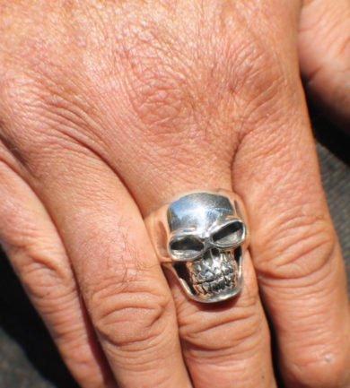Sz 14 Skull Head Ring Sterling Silver