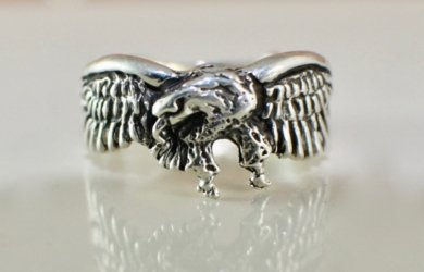 Size 9, Eagle Ring, Eagle Band, Sterling Silver, Eagle Jewelry, Nature Ring, Animal Ring, Bird Ring